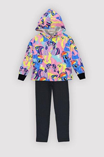 Peki 4 Mevsim Kız Çocuk Likralı Emp Polyester Pamuk Karışım Kapşonlu Ince Unicorn Taytlı Takım 12350