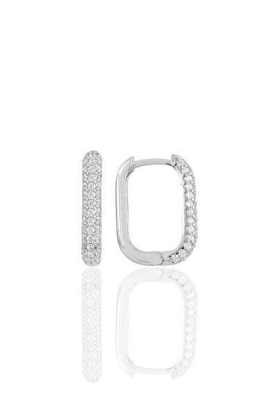 Söğütlü Silver Gümüş Rodyumlu Zirkon Taşlı Trend Küpe.
