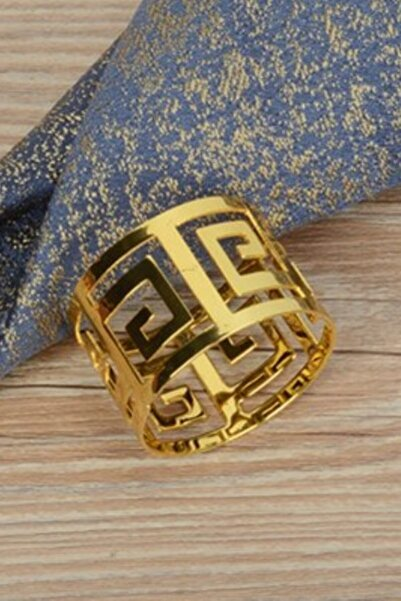 Manor 6 Adet Lüx Metal Halka Peçetelik Altın Kaplama