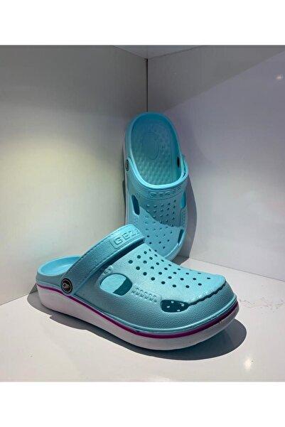 GEZER Unisex Turkuaz Crocs Çok Yumuşak Hem Terlik Hem Sandalet Önü Kapalı Terlik