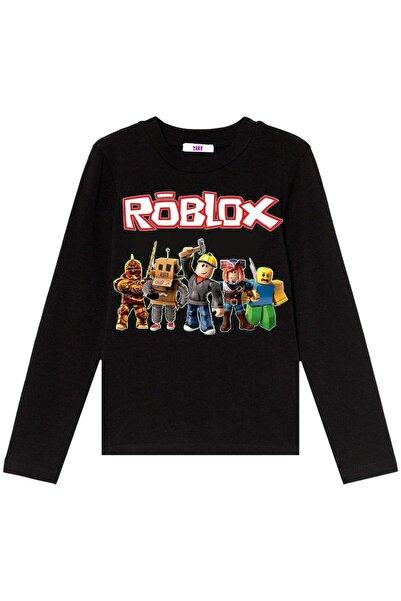TakeTshirt Unisex Çocuk Siyah Roblox Uzun Kollu Tişört