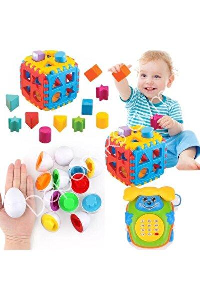 Depomiks Avm Geometrik Yumurta Eşleme 12 Parça + Bultak Puzzle + Müzikli Telefon Eğitici Zeka Geliştirici Set 3n1