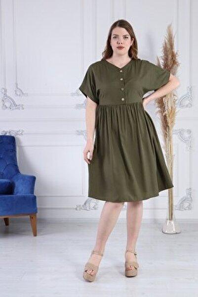 Kadınv Yaka Düğme Detaylı Narin Kumaş Büyük Beden Elbise 4371/110