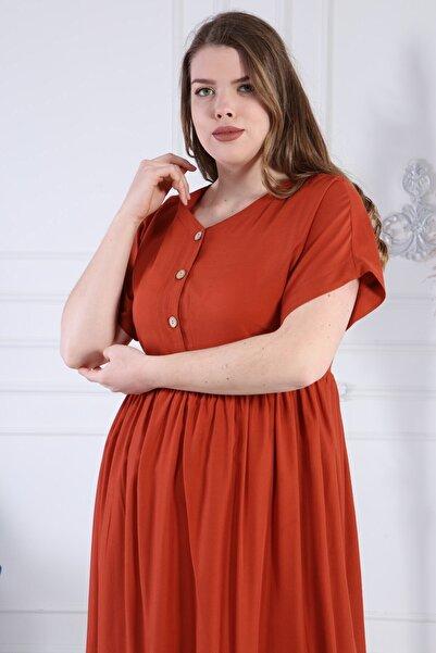 apsen Kadınv Yaka Düğme Detaylı Narin Kumaş Büyük Beden Elbise 4371/110