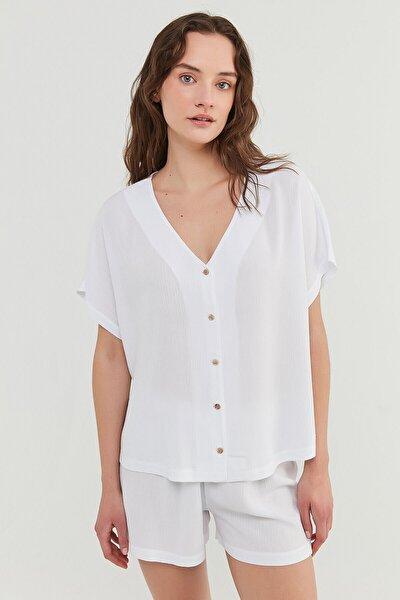 Penti Bridal Crinkle Gömlek Şort Takımı