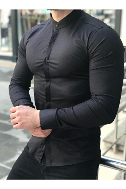 Moon Fashion Erkek Siyah Hakim Yaka Likralı Gömlek