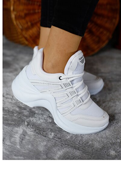 Twingo Kadın Beyaz Twıngo Yüksek Taban Lastikli Spor Ayakkabı