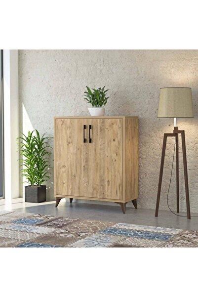 tino furniture Elit Atlantik Çam 2 Kapaklı 3 Raflı Ayakkabılık Çok Amaçlı Dolap