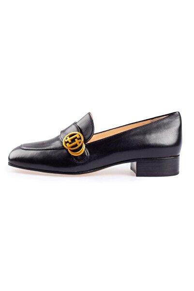 Flower Kadın Siyah Deri Ff Tokalı Ayakkabı
