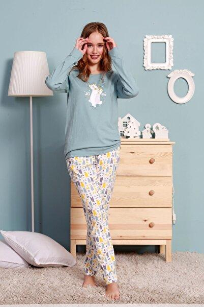VİENETTA Kadın Mavi  Uzun Kol Normal Beden Lycralı Pamuklu Pijama Takım