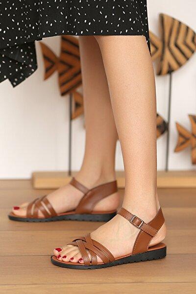Pembe Potin Kadın Taba Sandalet