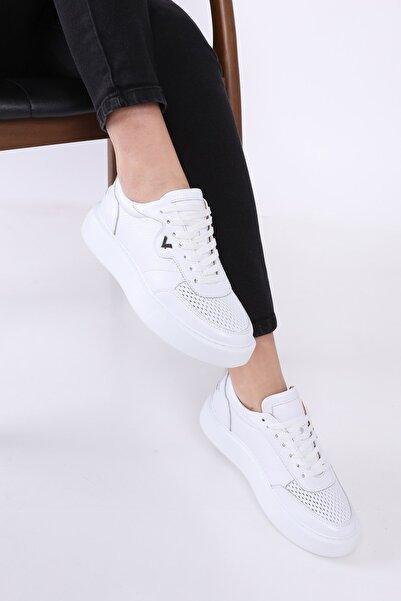 TaximArt Enduro Beyaz Deri Spor Ayakkabı
