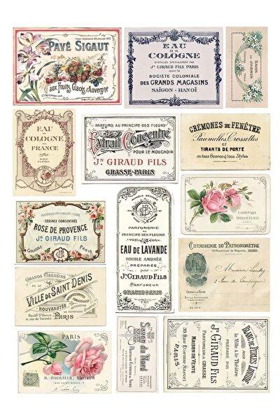 akcepazar Vintage Pul Küçük Kart Koleksiyon Temalı Laptop Sticker Seti14 Adet