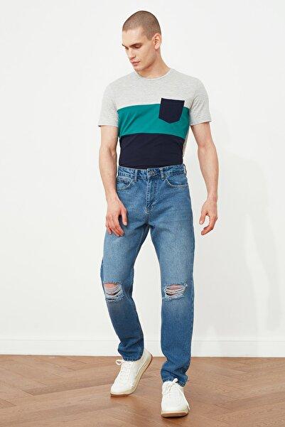 TRENDYOL MAN Indigo Erkek Destroylu Essential Fit Jeans TMNSS21JE0550