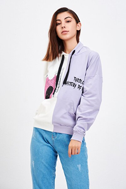Mossta Kadın Lila Çift Baskılı Sweatshirt
