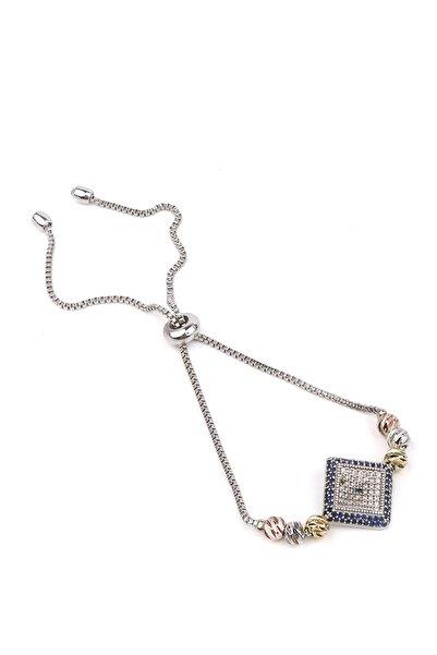 Marjin Kadın Gümüş Renkli Dorika Ve Zirkon Taşlı Kare Kesim Nazar Asansörlü Bileklikgümüş