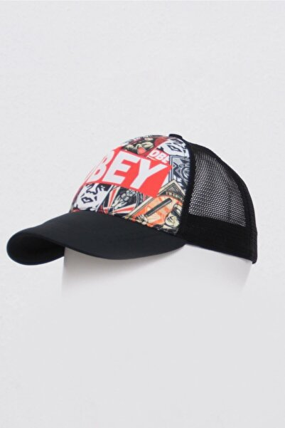 Mossta Obey Baskılı Dijital Şapka Siyah