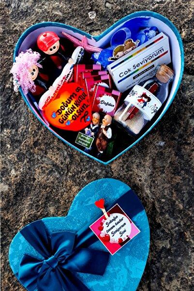 HediyeKombini Lüks Mavi Kalp Kutuda Sevgiliye Doğum Günü Hediyesi Sevgili Kombini Manevi Hediye