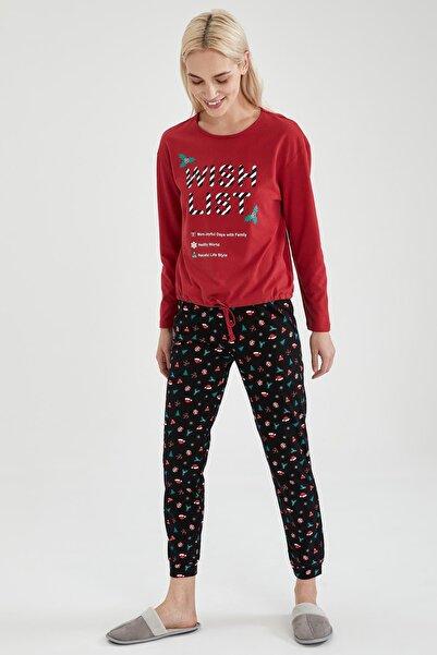 DeFacto Kadın Siyah Baskılı Uzun Kol Pijama Takımı