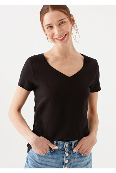 Mavi V Yaka Siyah Basic Tişört