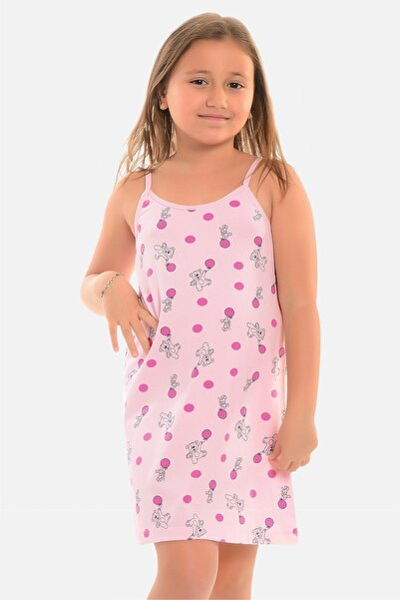 Little Frog Kız Çocuk Pembe Ip Askılı Tunik