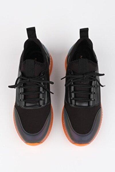 Kadın Siyah Streç Sneaker Spor Ayakkabı Cunka