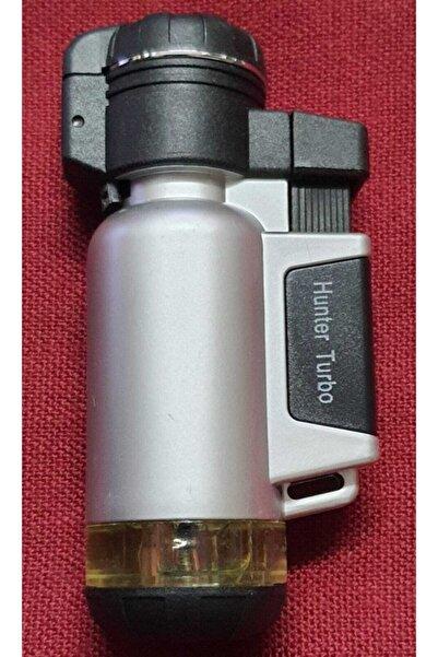 Hunter Turbo Tek Pürmüz Alev Pro Çakmağı Gümüş
