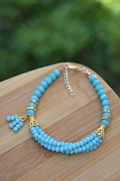 Stoneage Kadın Mint Mavi Çek Kristali Bileklik