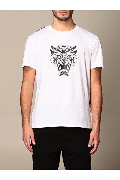 Just Cavalli Erkek Beyaz Big Tiger Logo T-shirt