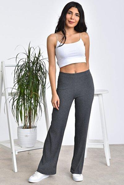 Alışveriş Sokağı Beli Lastikli Kaşkorse Salaş Kadın Pantolon