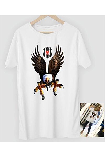 NVM Tekstil Kartal Baskılı Özel Tasarım Beyaz Yuvarlak Yaka T-shirt