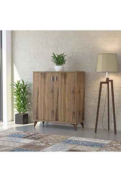 tino furniture Elit Ceviz 2 Kapaklı 3 Raflı Ayakkabılık Çok Amaçlı Dolap
