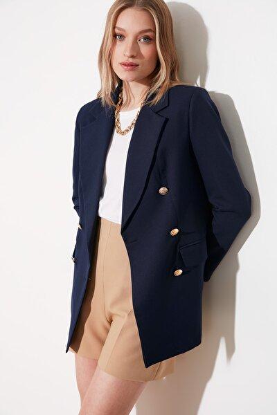 TRENDYOLMİLLA Lacivert Düğme Detaylı Oversize Blazer Ceket TWOSS20CE0024