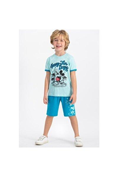 Mickey Mouse Erkek Çocuk Mavi Lisanslı Nil Yeşil Bisiklet Yaka Bermuda Takım