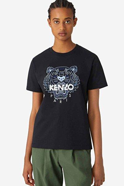 Kenzo Kadın Siyah Kaplan Logolu Bol Kesim T-shirt