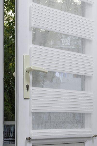 VENTİ PERDE Kapı Ve Pencere Üstü Metal Rustikli Venti Beyaz Plise Zebra Perde 2609