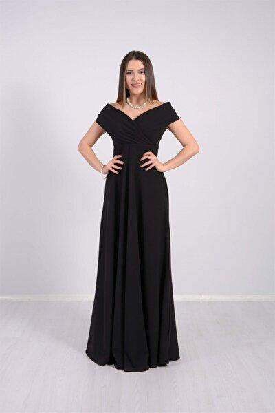 giyimmasalı Kayık Yaka Kiloş Elbise - Siyah