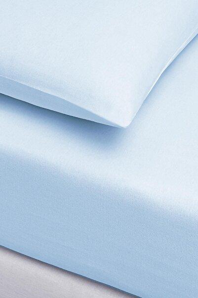 İyi Geceler İstanbul Ranforce Çift Kişilik Fitted Çarşaf Set - 180x200 - Mavi