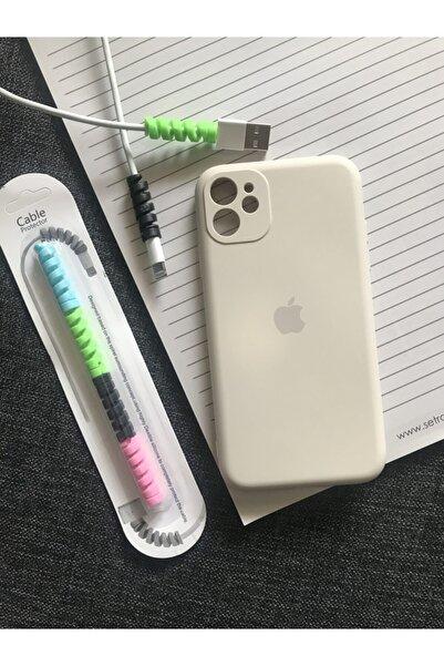SUPPO Iphone 11 Kamera Korumalı Logolu Lansman Kılıf+kablo Koruyucu