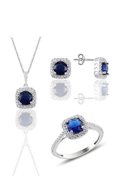 Söğütlü Silver Gümüş Rodyumlu Safir Taşlı Kare Üçlü Set