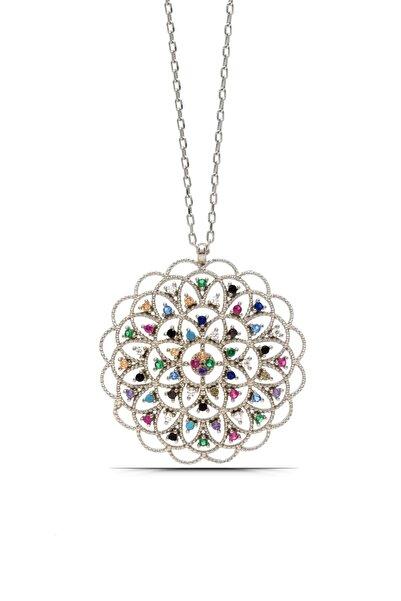 Parmas Design Kadın Yaşam Çiçeği Madalyon Gümüş Kolye