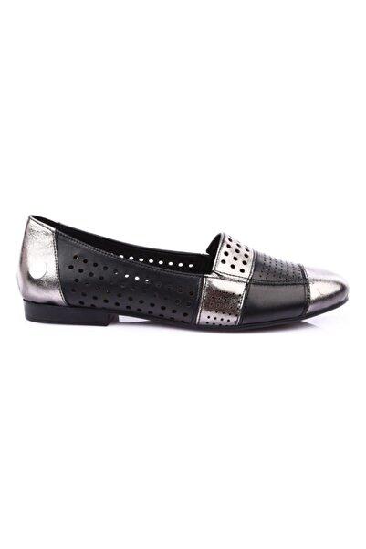 Mammamia Kadın Platin Deri Günlük Babet Ayakkabı