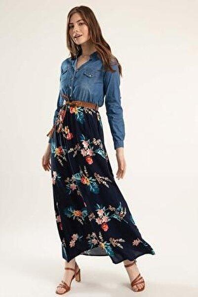 Kadın Eteği Çiçekli Uzun Kot Elbise Y20s110-1395
