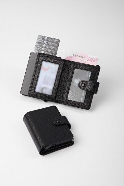 CENGİZ PAKEL Gerçek Deri Mekanizmalı Siyah Kartlık-cüzdan