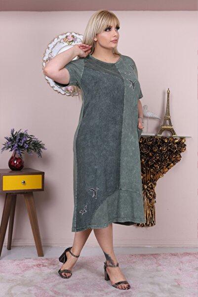 Heves Giyim Büyük Beden Yıkamalı Kumaş Kısa Kollu Yeşil Elbise