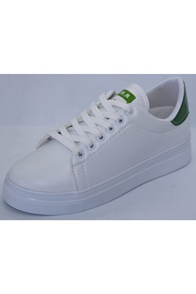 DMR Unisex Beyaz Düz Tabanlı Cilt Spor Ayakkabı