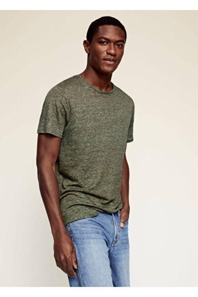MANGO Man Erkek Yeşil Keten Tişört