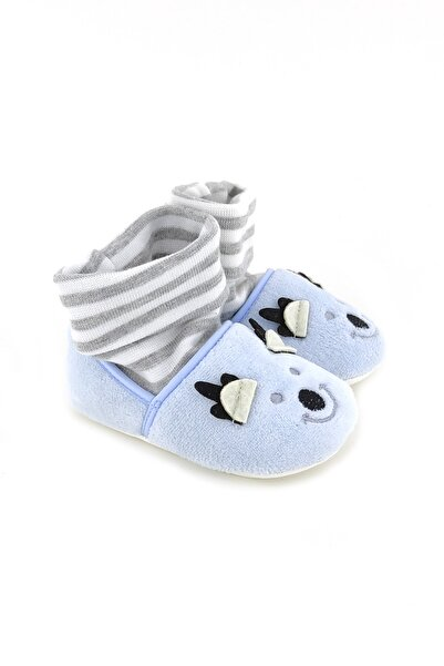 Funny Çoraplı Gülen Yüz Bebek Patiği-mavi