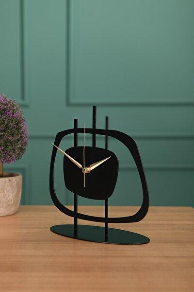 Muyika Design Muyika Pietra Metal Siyah Masa Üstü Saati 21x23cm