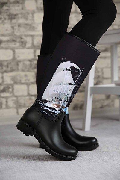 Ccway Kadın Siyah Gemili Yağmur Çizmesi